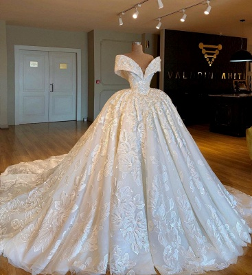 Off-the-Shoulder Ball Gown  Applique  Wedding Dresses UK_1