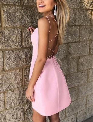 Sexy A-Line Spaghetti Straps Pocket Short length Prom Dress UK UK_3