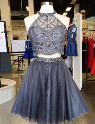 Crop top Beads A-Line Sleeveless Jewel Mini length Homecoming Dress UK_1