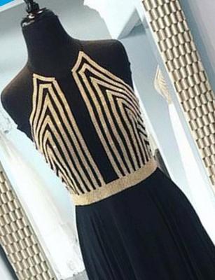 Modern Sequins A-Line Sleeveless Halter Long Prom Dress UK UK_3
