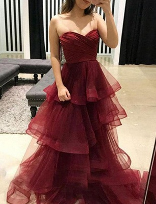 Amazing A-Line Tiered Oganza Sweetheart Burgundy Long Prom Evening Dress UK_3