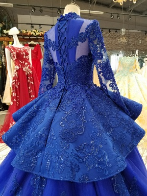 Long Sleeves Ball Gown Applique Tulle Beads Court Train Prom Dress UK UK_5