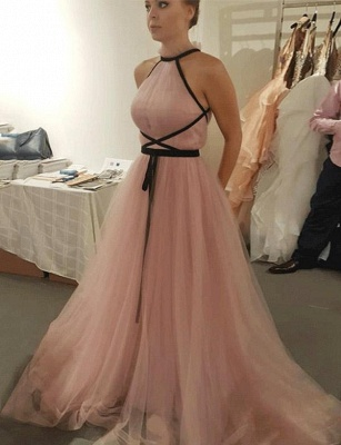 Different Sleeveless High Neck Tulle A-Line Pink Long Prom Evening Dress UK_1