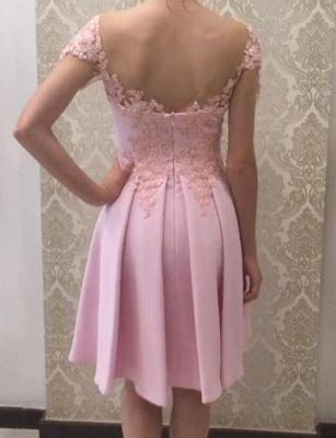 Gorgeous A-Line Appliques Short Sleeves Knee-Length Prom Dress UK UK_3