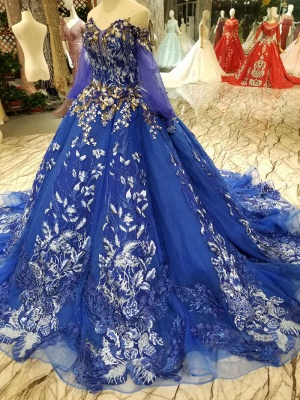 Off-the-Shoulder Long Sleeves Ball Gown Tulle Applique Court Train Prom Dress UK UK_4