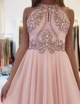 Modern A-Line Spaghetti Straps Beading Pink Long Prom Dress UK UK_3
