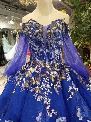 Off-the-Shoulder Long Sleeves Ball Gown Tulle Applique Court Train Prom Dress UK UK_5