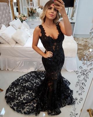 Gorgeous Straps Elegant Mermaid Appliques Sweep Train Prom Dress UK UK_1