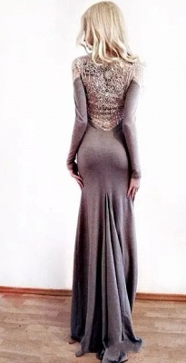 Unique Column Jewel Long Sleeves Appliques Prom Dress UK UK_2