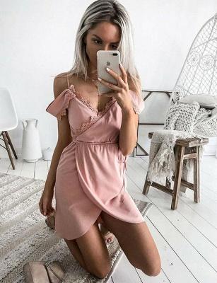 Glamourous A-Line Lace Spaghetti Straps Ribbons Short Prom Homecoming Dress UK_3