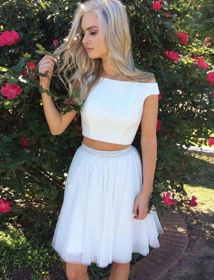 Sexy Off-the-Shoulder Crop top Beads A-Line Mini length Prom Dress UK UK_1
