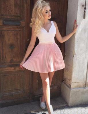 Fabulous A-Line V-Neck Sleeveless Straps Short length Prom Dress UK UK_3