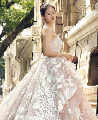 Applique Organza Strapless Ball Gown Sweep Train Prom Dress UK UK_5