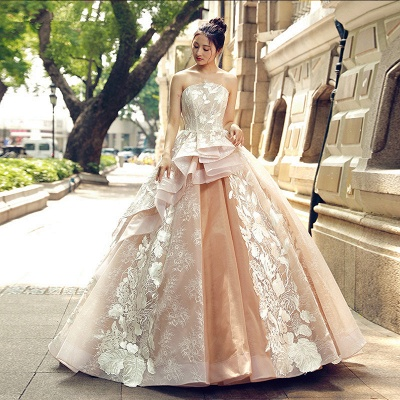 Applique Organza Strapless Ball Gown Sweep Train Prom Dress UK UK_1