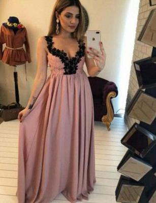 Charming A-Line Appliques Sleeveless V-Neck Long Prom Dress UK UK_3