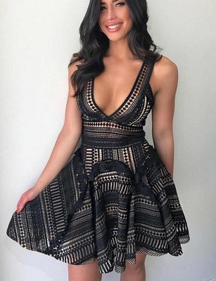 New Arrival Lace A-Line Sleeveless V-Neck Short Prom Homecoming Dress UK_3