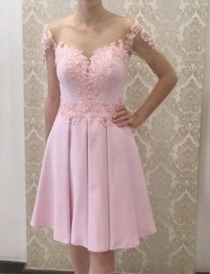 Gorgeous A-Line Appliques Short Sleeves Knee-Length Prom Dress UK UK_1