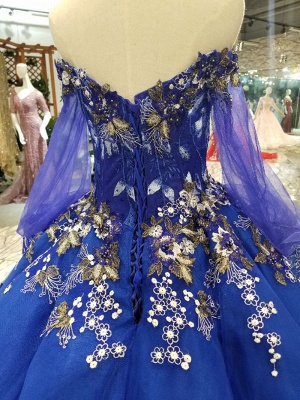 Off-the-Shoulder Long Sleeves Ball Gown Tulle Applique Court Train Prom Dress UK UK_7