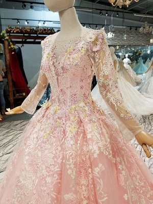Organza Round Neck Long Sleeves Applique A-Line Court Train Prom Dress UK UK_7