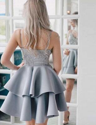 Stunning A-Line Appliques Spaghetti Straps Mini length Homecoming Dress UK_3