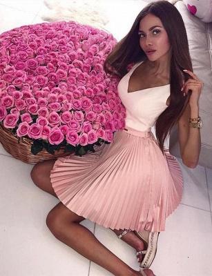 Fabulous A-Line V-Neck Sleeveless Straps Short length Prom Dress UK UK_5