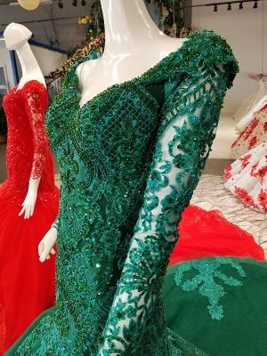 Mermaid Beads Chapel Train Long Sleeves Tulle Applique Prom Dress UK UK_5