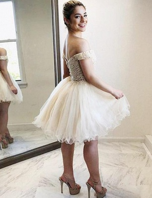 Stunning Tulle A-Line Appliques Off-the-Shoulder Mini length Homecoming Dress UK_3