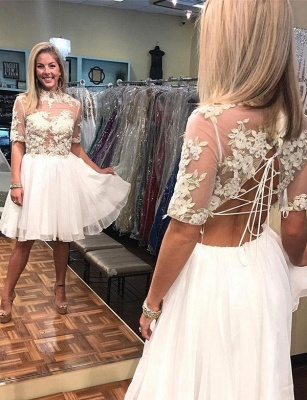 New Arrival A-Line Appliques High Neck Lace Short Sleeves Short  Homecoming Dress UK_1