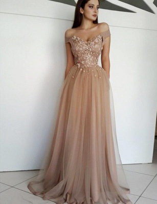 Charming Appliques A-Line Tulle Off-the-Shoulder Long Evening Dress UK_1