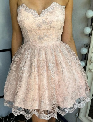 New Arrival Appliques A-Line Lace Cute Sweetheart Lace-up Homecoming Dress UK_1