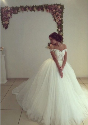 Pretty Off-the-Shoulder Tulle  Ball Gown Wedding Dresses UK_2
