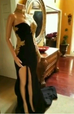 Black Mermaid Front-slit Appliqued Long Sleeve Prom Dress UKes UK_4