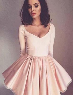 Trendy A-Line Long Sleeves V-Neck Mini length Homecoming Dress UK_1