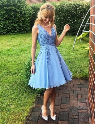 Modern Sleeveless A-Line Appliques V-Neck Short length Prom Dress UK UK_1