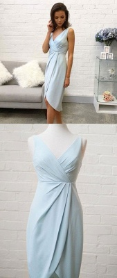 Trendy Sleeveless A-Line V-Neck Hi-lo Homecoming Dress UK_3
