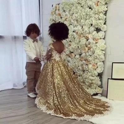 Gold Sequins Girl Applique Round Neck Court Train Pageant Dress UK_1