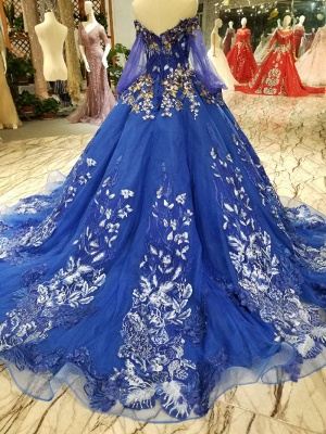 Off-the-Shoulder Long Sleeves Ball Gown Tulle Applique Court Train Prom Dress UK UK_3