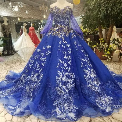 Off-the-Shoulder Long Sleeves Ball Gown Tulle Applique Court Train Prom Dress UK UK_1
