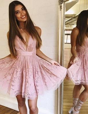 Glamourous Sleeveless A-Line Lace V-Neck Mini length Homecoming Dress UK_1