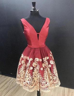 Glamourous Sleeveless A-Line Appliques V-Neck Mini length Homecoming Dress UK_1