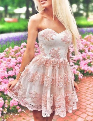 Sexy Appliques A-Line Lace Cute Sweetheart Mini length Homecoming Dress UK_1