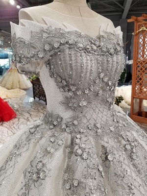 Organza Applique Ball Gown Chapel Train Short Sleeves Prom Dress UK UK_5