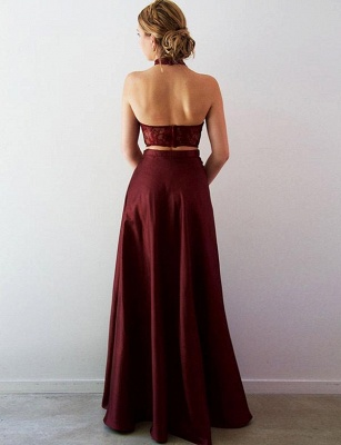 Crop Top Lace A-Line Split Front Long Halter Prom Dress UK UK_3