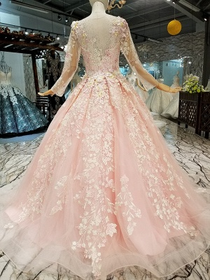 Organza Round Neck Long Sleeves Applique A-Line Court Train Prom Dress UK UK_3