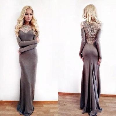 Unique Column Jewel Long Sleeves Appliques Prom Dress UK UK_3