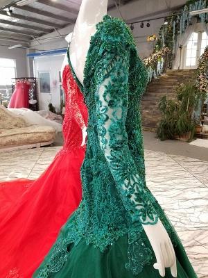 Mermaid Beads Chapel Train Long Sleeves Tulle Applique Prom Dress UK UK_7