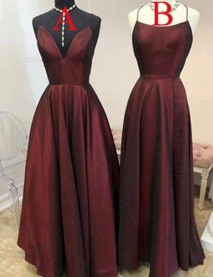 Sexy Burgundy A-Line Spaghetti Straps Sleeveless Long Prom Dress UK UK_1