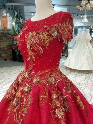 Beads Applique Round Neck Short Sleeves A-Line Court Train Prom Dress UK UK_6