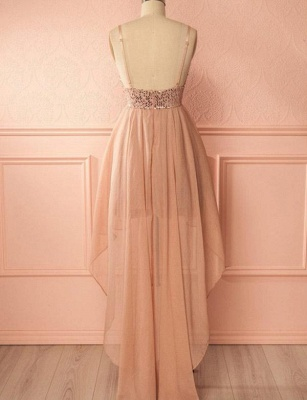 Glamourous A-Line Sequins Spaghetti Straps V-Neck Hi-lo Prom Homecoming Dress UK_3