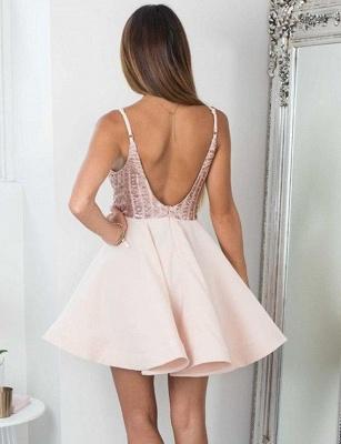 Charming Spaghetti Straps A-Line Sequins V-Neck Short length Prom Dress UK UK_3
